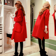 Spring 2017 Korean version of the new cloth coat loose in the long thin red wool woolen coat female cocoon