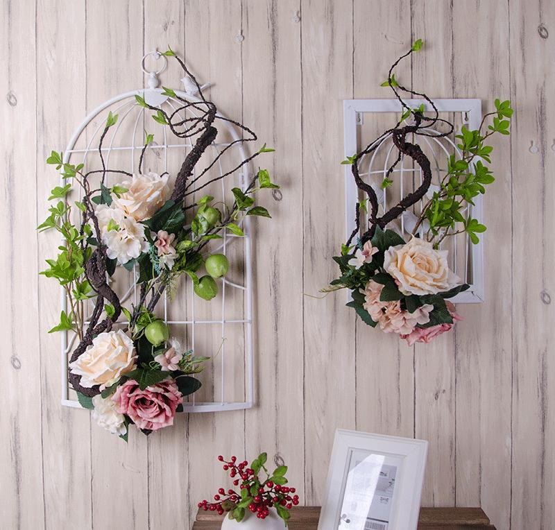 复古创意家居墙壁花艺壁挂仿真花 绢花饰品挂件卧室客厅墙饰鸟笼