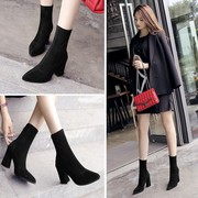 The spring and autumn winter new half boots and high-heeled boots boots with elastic cloth in the barrel of crude short boots shoes bag mail