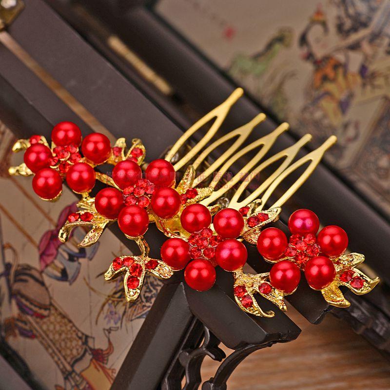 新娘小巧发饰韩国红色古装珍珠水钻头饰结婚礼服发梳盘发影楼饰品