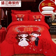 Wedding cotton four piece wedding Longfeng sanding cotton 4 suite thickened sheets bedding red cartoon