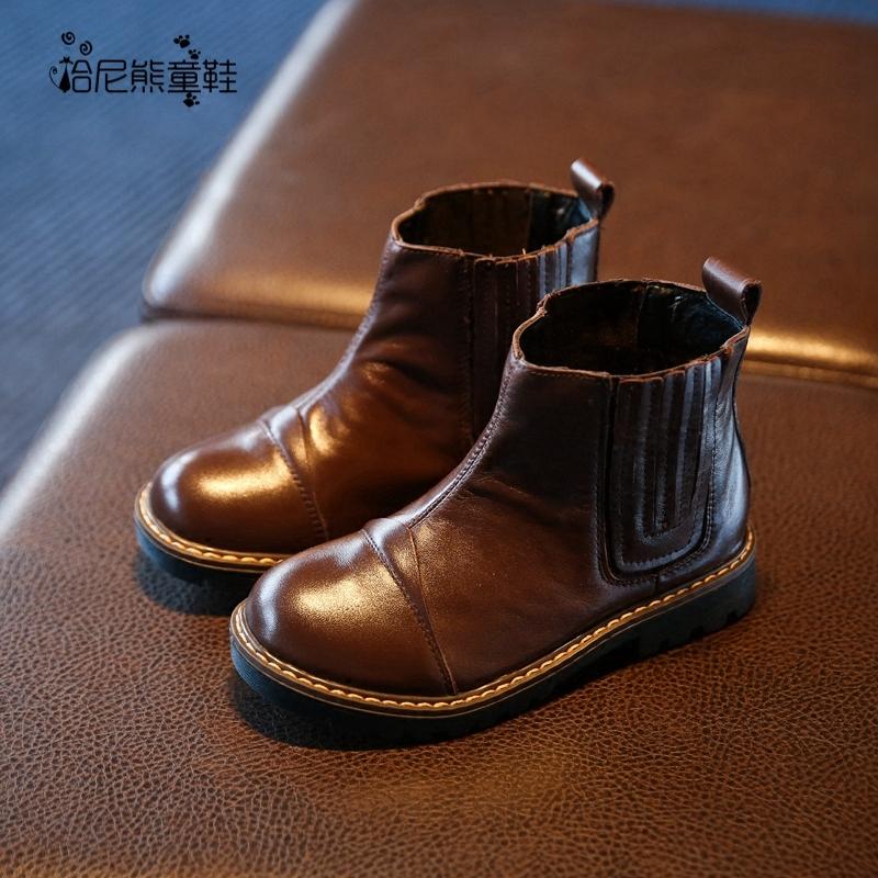 2017秋冬新款男童英伦短靴马丁靴子黑色真皮儿童鞋加绒加厚棉靴子