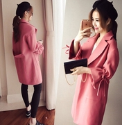2016 Korean winter new tide type wool coat female Korean cocoon in autumn and winter in the long woolen coat of female students