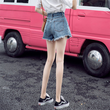 Denim shorts female summer 2018 new Korean version was thin loose high waist students a word wild chic net red with the same paragraph