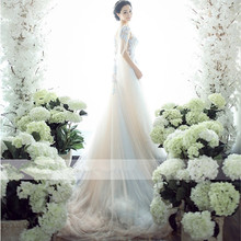 Fashion wedding photography studio Halter long tailed dress sexy photo theme wedding couples dress