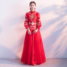 2017 new red clothes Xiuhe bride toast clothing cheongsam wedding costume Chinese wedding dress show and winter