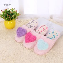 The spring and autumn and winter home in cotton slippers indoor soft bottom slip warm peach mute silent love