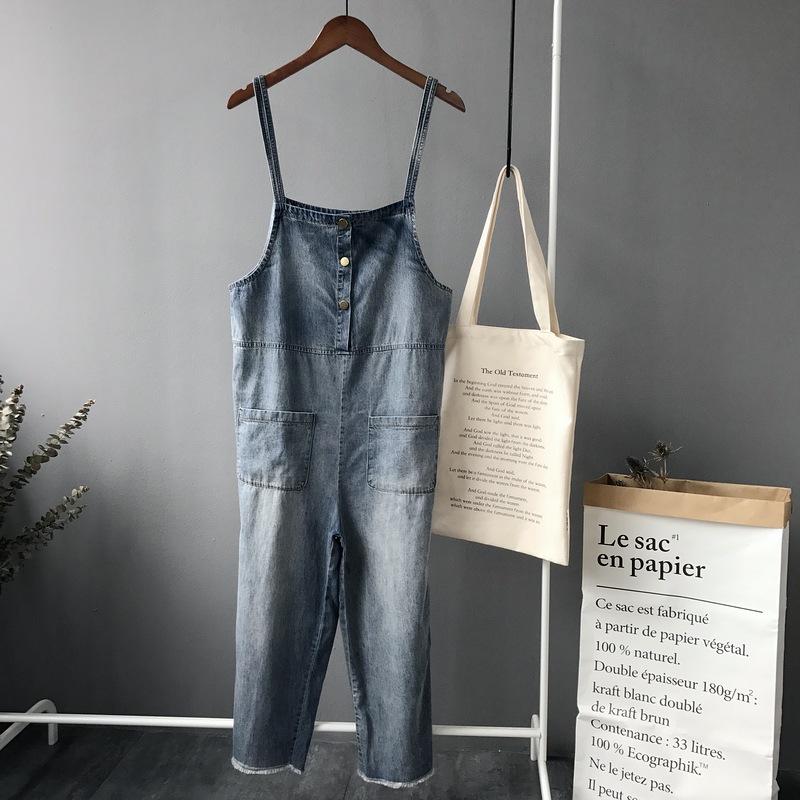 2017夏款韩版简约年代感薄牛仔背带裤连体裤 (七分和加长版两款)
