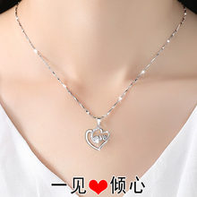 999 necklace female sterling silver clavicle silver pendant jewelry simple Japanese and Korean version of Valentine's Day gift birthday girlfriend