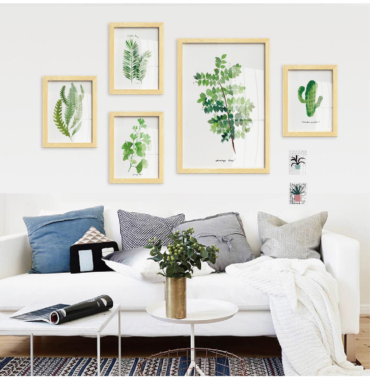 三联画北欧小清新组合壁画卡通人物美女客厅填色画装饰画冷艳思念