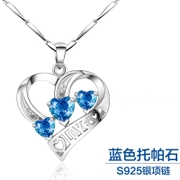Valentine's day gifts S925 pure silver heart-shaped violet crystal pendant necklace to silver ornament female platinum plating