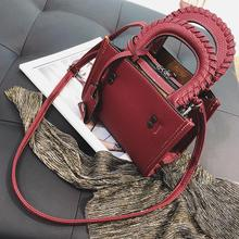 2017 all-match Satchel Bag female fashion embossed hand woven bag shoulder bag small simple Korean
