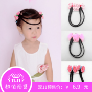 Special offer every day children bowknot hairpin girls forehead hand braid Princess Costume Wig accessories