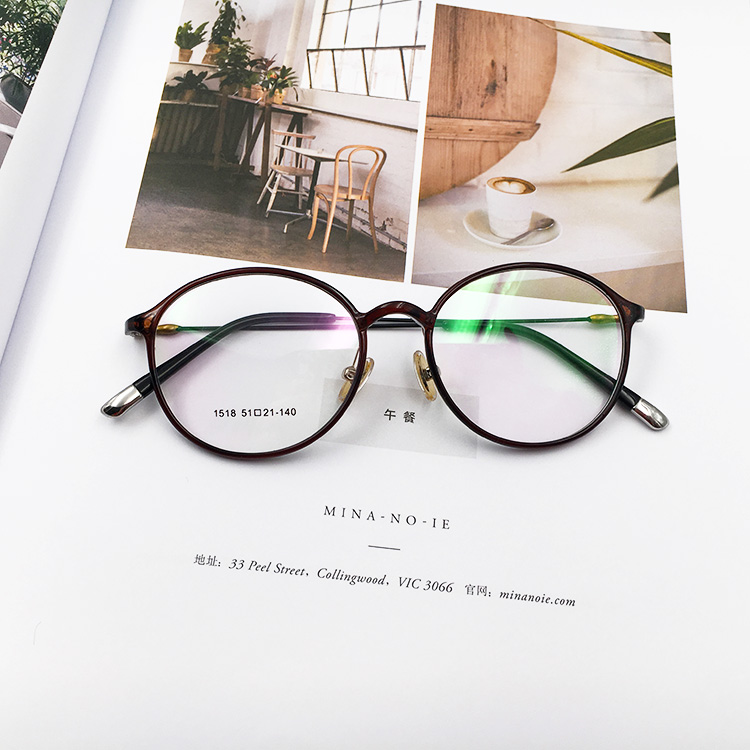 Ultra light tungsten carbon steel, Korean art glasses, retro round frame, big face can be equipped with short frame, thin legs, glasses, women