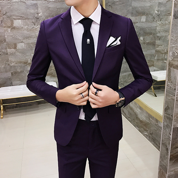 Korean business casual suit two pure DP single breasted groom married male casual suit jacket