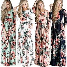Bohemia Maxi dresses women printed flowers Long Girl Dress