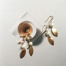 Korea golden leaves simple retro pearl earrings earrings temperament long earrings ear clip accessories female E307