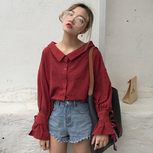 The fall of the new Korean V collar all-match drawstring air dew clavicle trumpet sleeve long sleeved shirt loose woman