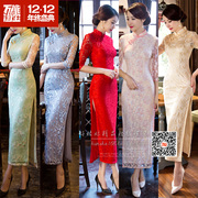 Long daily seven vintage dress cheongsam slim slim lace cuff new winter girl improvement Conference