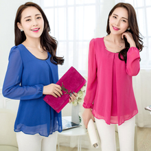 Autumn mother aged 30-40-50 in the elderly on the long sleeved shirt dress with chiffon shirt 2 middle-aged women