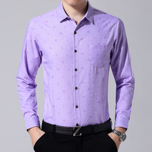 The spring and autumn business casual wedding wedding shirt sleeve father-in-law father put a middle-aged man ironing shirt pocket