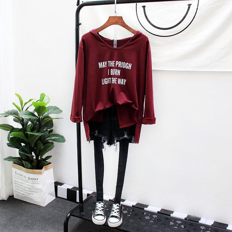 艾伊格秋女装上衣简洁字母宽松打低衫学生女士韩版长袖连帽t恤潮