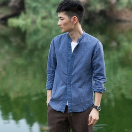几立 反过来穿更好看的双层纱牛仔色衬衫暗门襟立领衬衫潮流