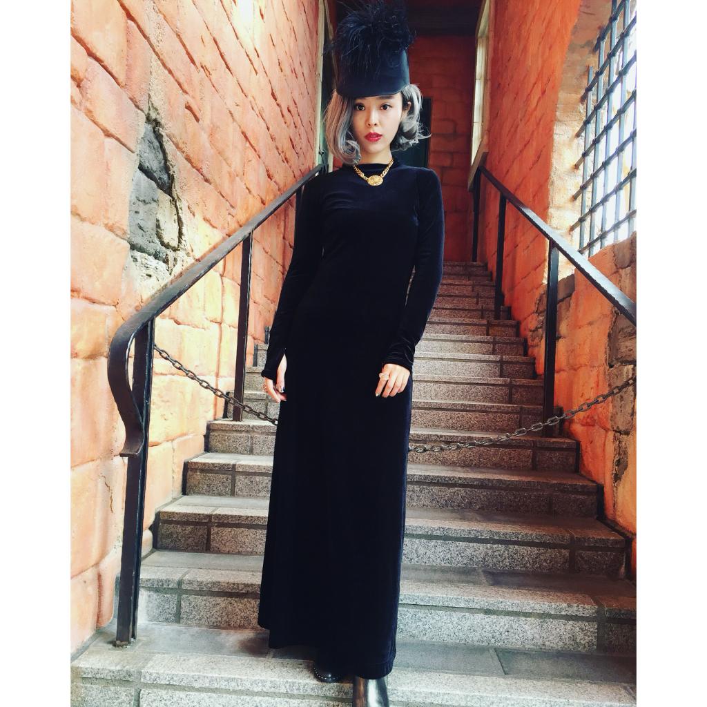 zozo潮流女装显高显瘦黑色金丝绒长裙纸片人连衣裙晚装年会礼服
