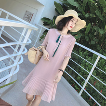 Pregnant women dress chiffon shirt fashion models long section summer dress 2018 new summer Korean short-sleeved long skirt