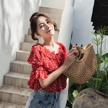 Fawn flying summer super fairy broken flowers, red chiffon sweater, thin female lotus leaf side short sleeved printed shirt shirt.
