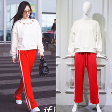 The new spring and summer 2017 Li Xiaolu airport street with white stripes and red sweatpants female leisure trousers