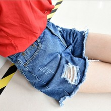 Korean version of the new high waist hole denim shorts female summer fat mm yards wide leg pants slim sexy shorts flash tide