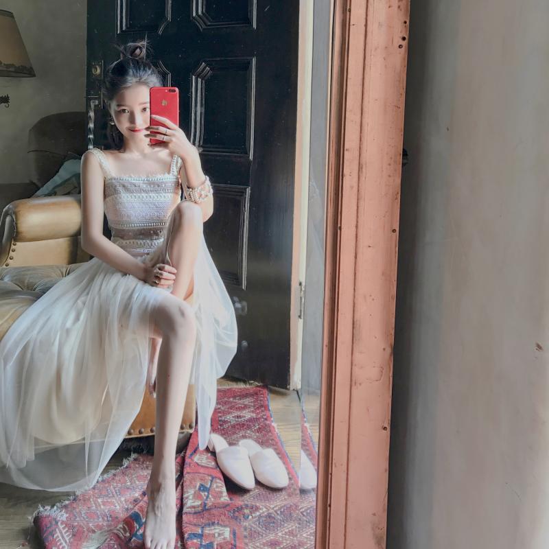 轻奢大喜自制 原创夏季新款 彩虹定位拼接多色精致蕾丝连衣裙