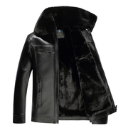 Autumn and winter models leather middle-aged men's hair fur collar jacket plus cashmere thickened middle-aged leather men's father loaded large