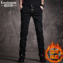 2017 new male black jeans pants slim pants in winter and trend of Korean male cashmere elastic trousers