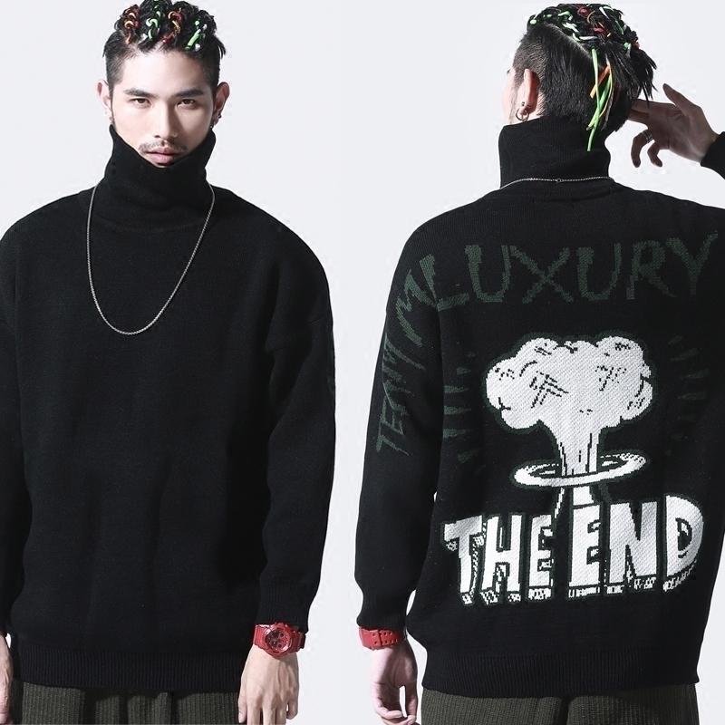 二十八间冬季原创男装嘻哈潮牌高领卡通毛衣男士线衣潮流休闲外套