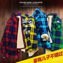 The child's boys long sleeved shirt plus cashmere thickened children Plaid Shirt warm autumn cotton shirt 12
