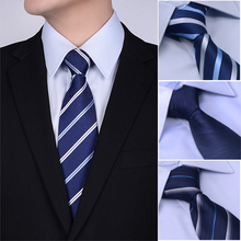 Noble not expensive dress business men tie 8CM denim blue solid color tie striped tie male name products recommended