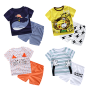 The summer wear short sleeved suit thin cotton baby baby Summer Boys T-shirt shorts two piece set tide