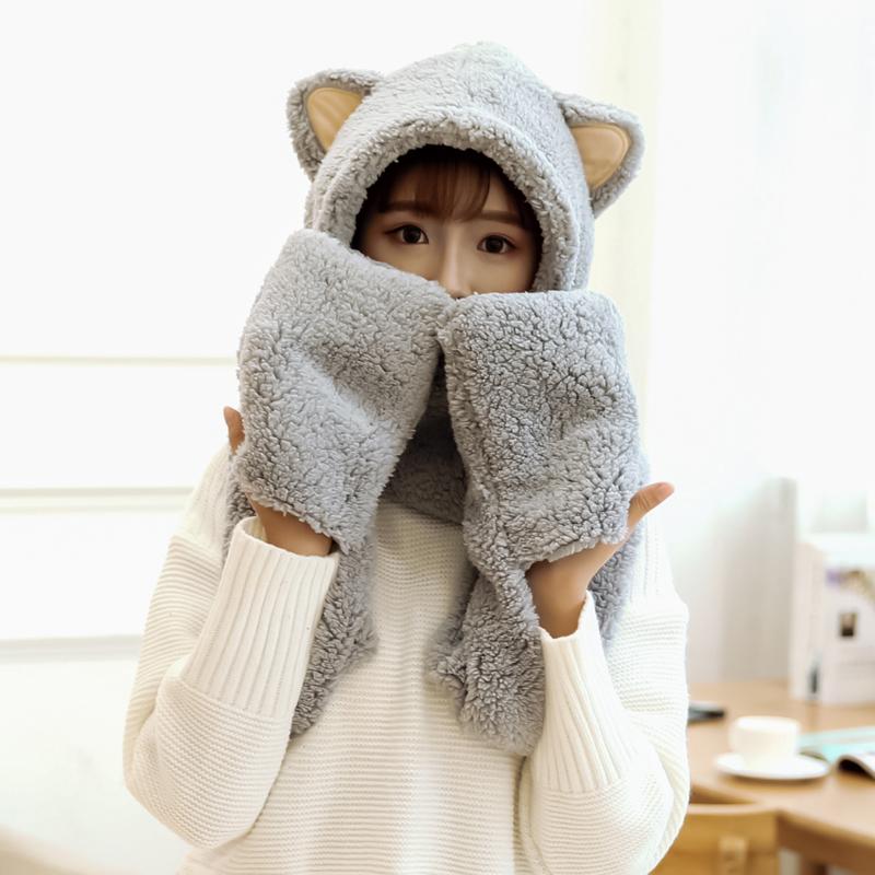 韩版冬季成人帽子手套围巾一体可爱毛绒学生保暖连帽围脖三件套女