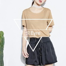 The elegant ladies lace collar collar loose solid vertical short sleeved T-shirt.