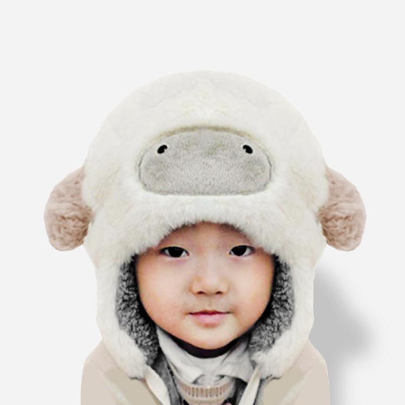 可爱宝宝冬季加厚儿童卡通毛绒小羊帽子护脸手工原创生日亲子礼物