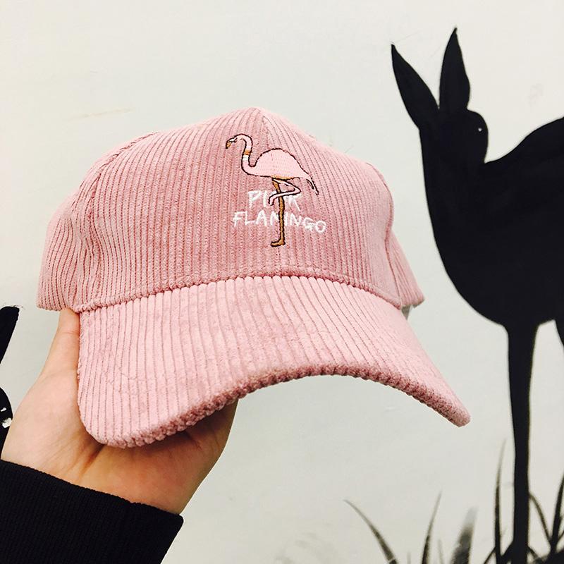 网红火烈鸟刺绣软萌少女心粉色棒球帽纯色秋冬早春灯芯绒鸭舌帽子