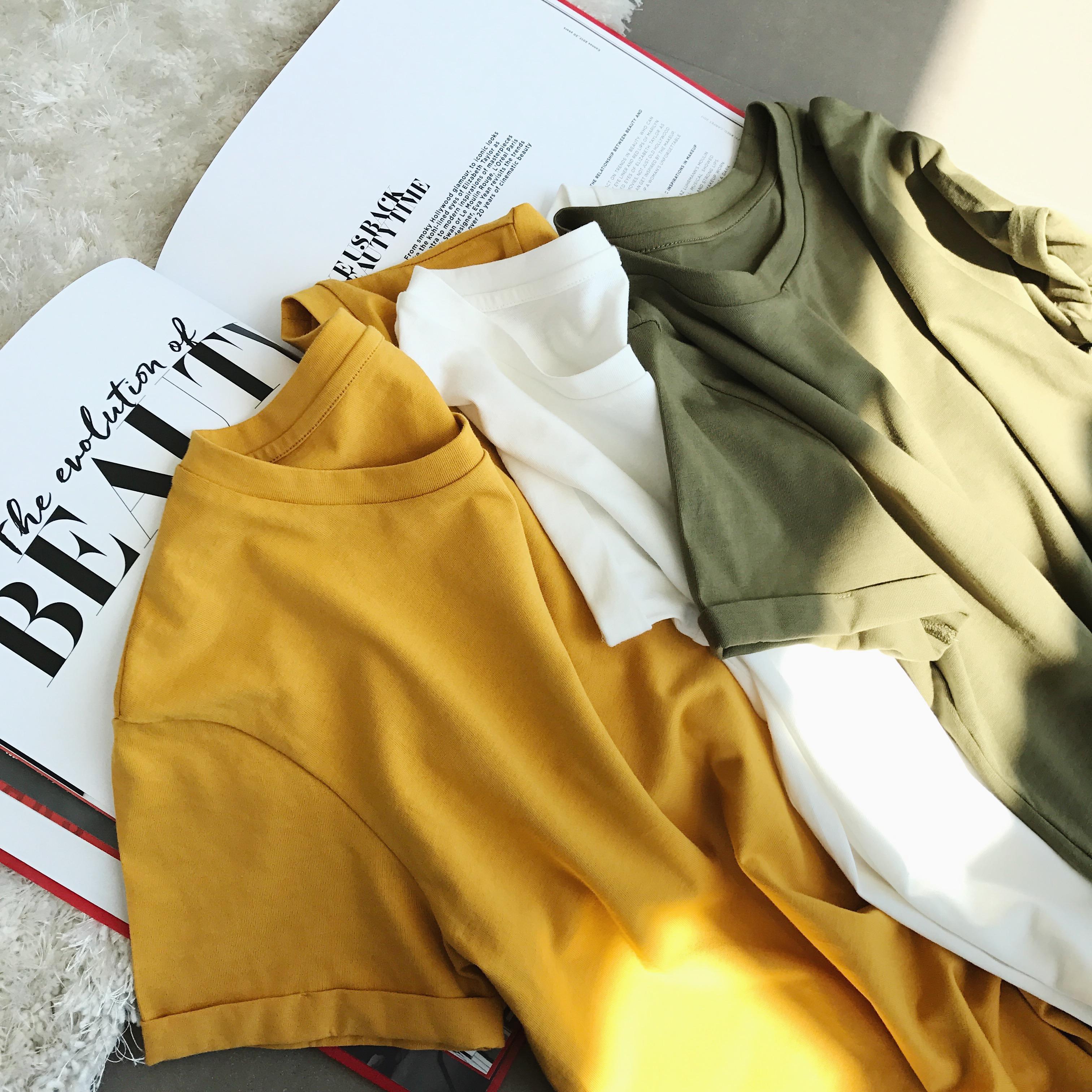 钱夫人CHINSTUDIO定制 宽松圆领纯色短袖t恤女学生显瘦打底上衣潮