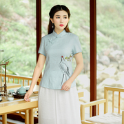 Light to restore ancient ways the cat costume cultivate one's morality show thin hand printed cotton fiber improved cheongsam Chinese jacket with short sleeves female summer