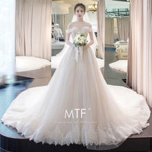 Man Tingfang wedding dress 2018 new trailing princess dream bride married summer shoulder Europe and America was thin