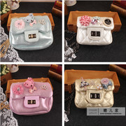 New Korean girl baby child patent leather handmade bag small bear small rabbit small flower inlay drill oblique cross bag