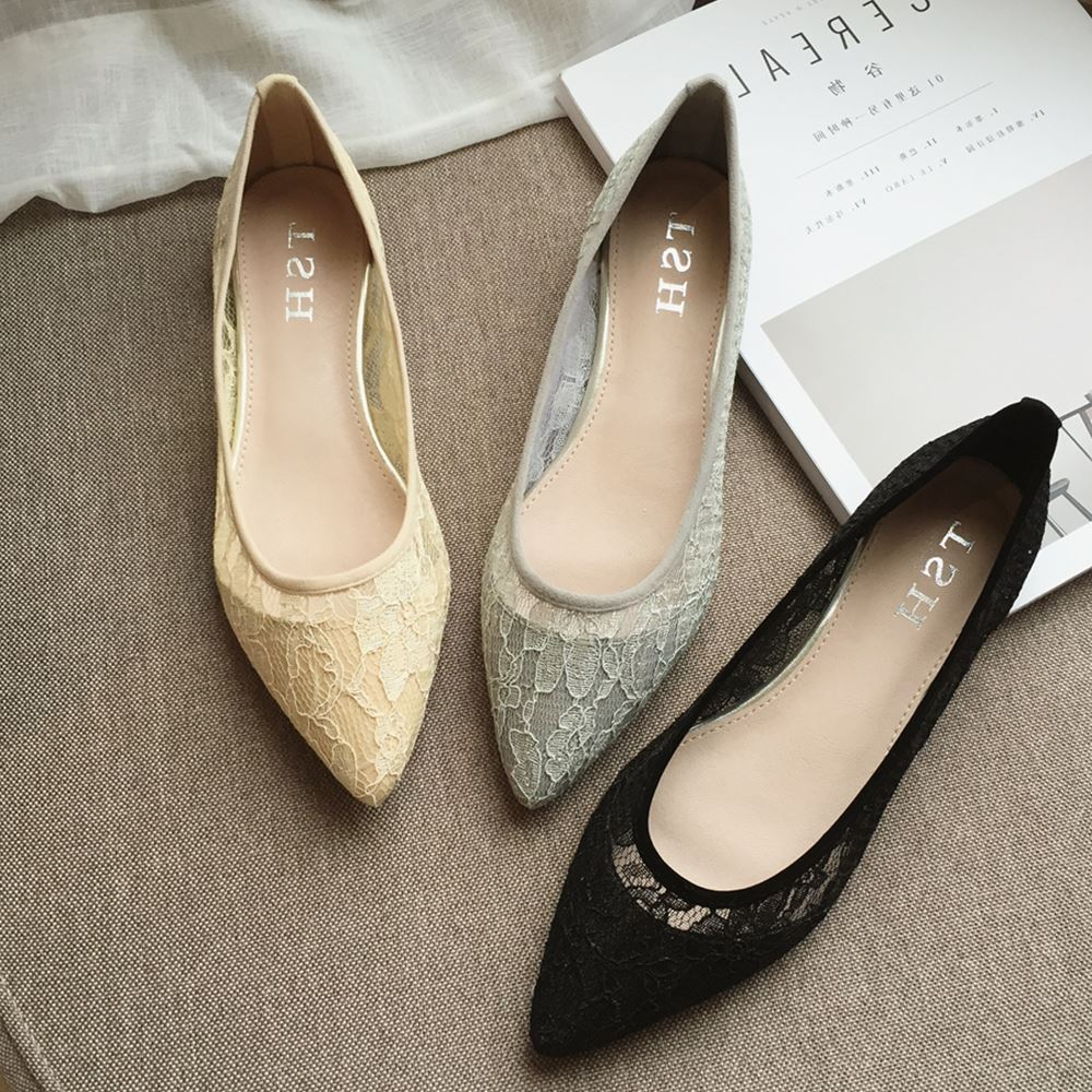 08 Japanese fashion lace cloth pointed shoes small shallow mouth fall flat with the new shoes breathable shoes