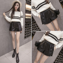 A high waisted leather shorts female winter wear casual shorts Pu thin leather pants all-match wide leg pants tide tide