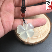 The jade pendant clover natural jade Choker Xiuyan Jade Pendant Necklace and jade Gao Bingyu small fresh paragraph